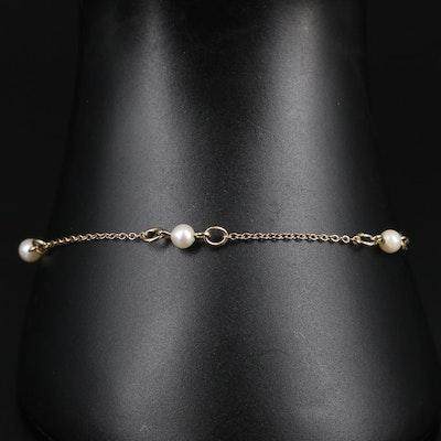 Gold Filled Pearl Station Bracelet