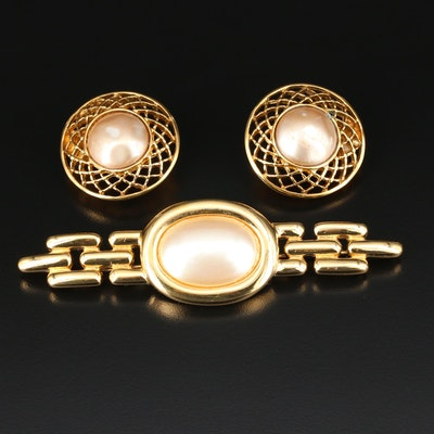 Vintage Chanel Imitation Pearl Earrings and Givenchy Brooch