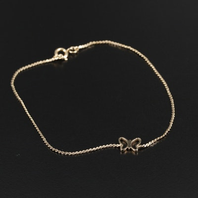 Gold Filled Butterfly Motif on Serpentine Link Bracelet