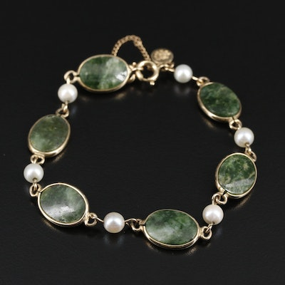 Gold Filled Connemara Marble and Pearl Bracelet