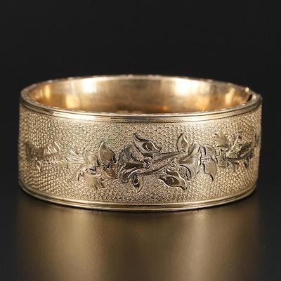 Vintage Hayward Gold taille d'Épargne Floral Bangle