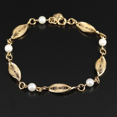Circa 1950's Winard Gold Filled Pearl Bracelet
