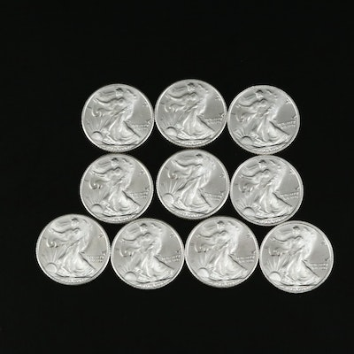 Ten 1/10th Oz. .999 Fine Silver Walking Liberty-Themed Rounds