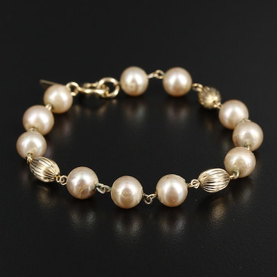 Imitation Pearl Bracelet with a Gold Filled Clasp