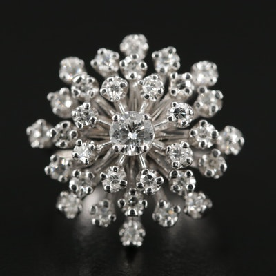 14K White Gold 1.02 CTW Diamond Tier Ring
