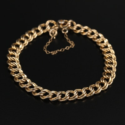 Vintage Elco Gold Filled Double Curb Link Charm Bracelet