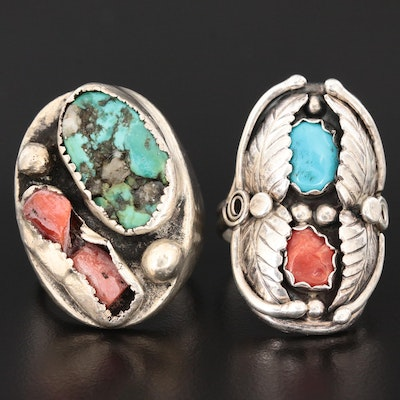 Vintage Southwestern Sterling Turquoise and Coral Rings with Shadow Box Settings