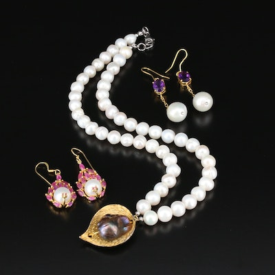 Sterling Necklace and Earrings with Pearl, Amethyst, Ruby and Glass