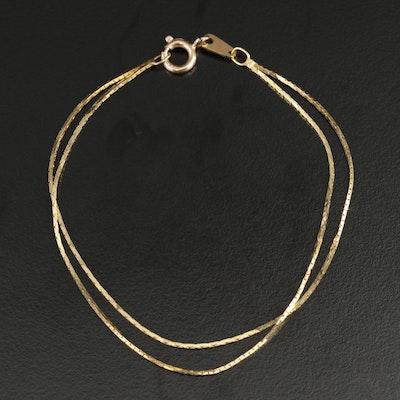 14K Yellow Gold Bismark Link Double Strand Bracelet