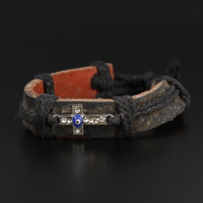 Rhinestone Cross with Evil Eye Motif Bracelet