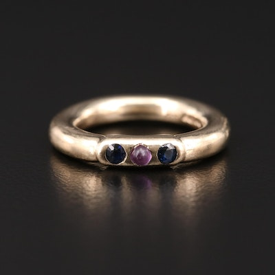 9K Yelow Gold Amethyst and Sapphire Three Stone Band