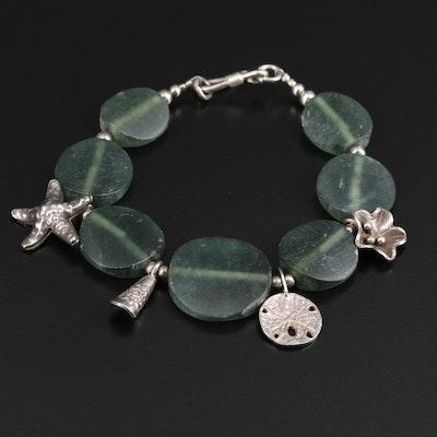 Sterling Serpentine Beaded Beach Motif Bracelet