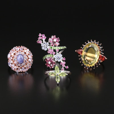 Sterling Rings with Synthetic Yellow Sapphire, Peridot and Pink Topaz