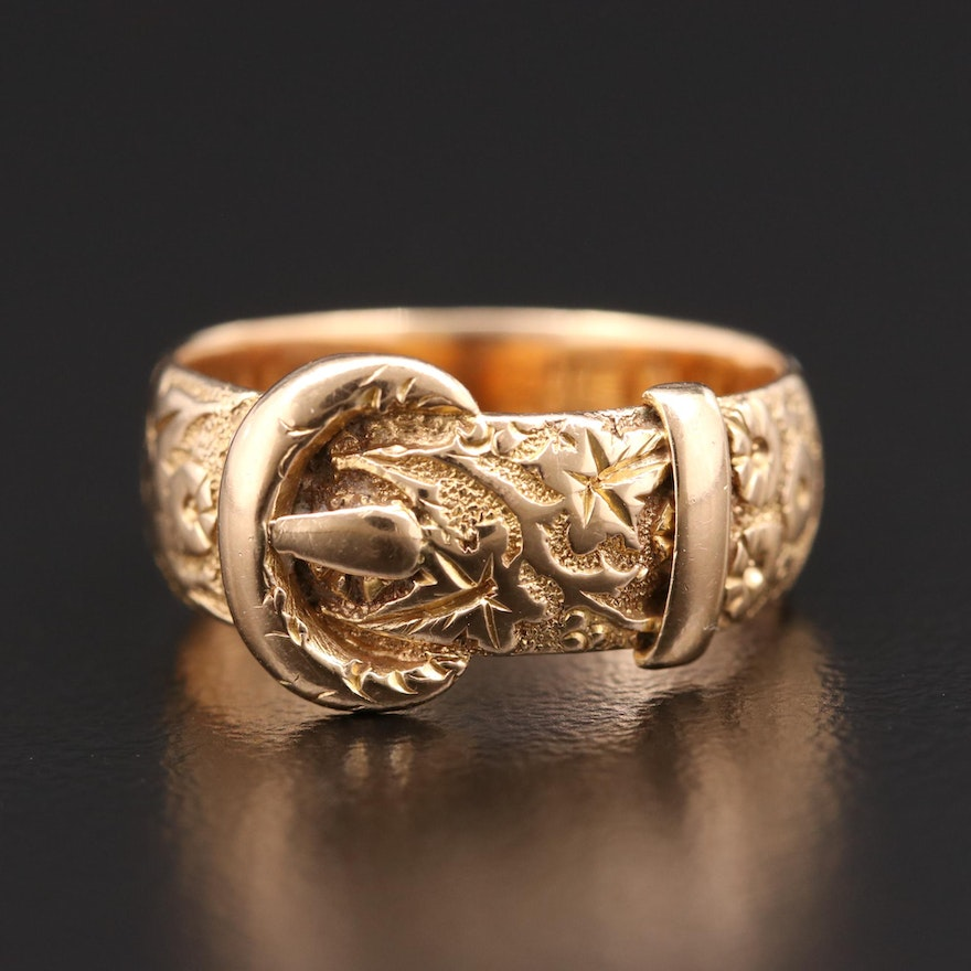 Early Victorian 18K Yellow Gold Buckle Ring