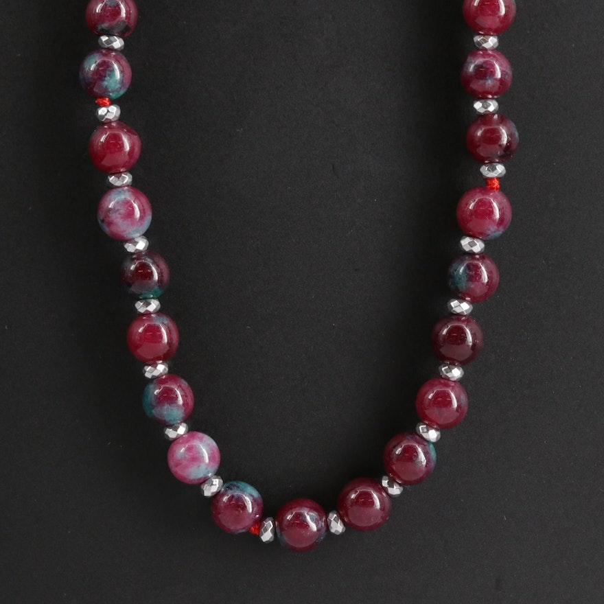 Endless Quench Crackled Quartz and Hematite Necklace