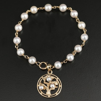 14K Yellow Gold Cultured Pearl Bracelet with Tree Motif Charm