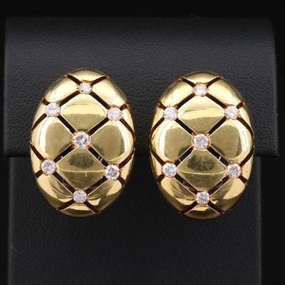 La Triomphe 18K Yellow Gold 1.12 CTW Diamond Oval Button Earrings