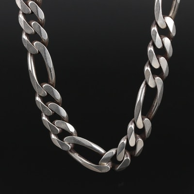 Sterling Figaro Chain Link Necklace