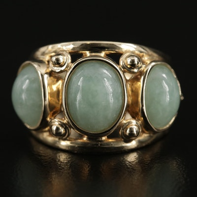 14K Yellow Gold Jadeite Three Stone Ring