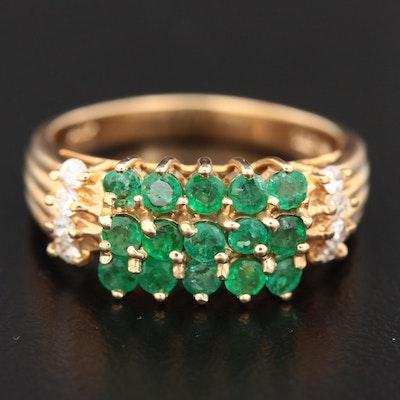 14K Yellow Gold Emerald and Diamond Multi-Row Ring