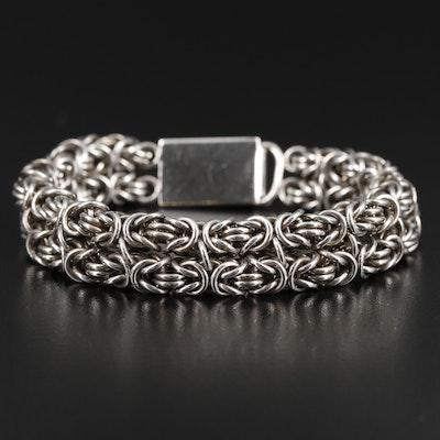 Sterling Silver Double Byzantine Link Bracelet