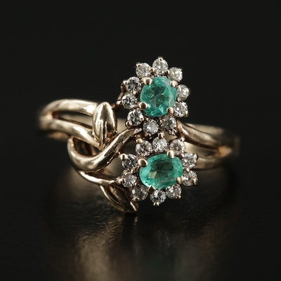 14K Yellow Gold Emerald and Diamond Floral Motif Ring