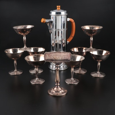 Vintage Chrome and Bakelite Cocktail Mixer and Silver-Plated Cocktailware