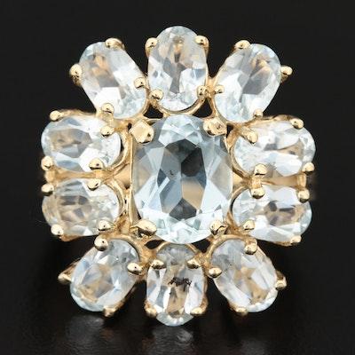 14K Gold Aquamarine Cluster Ring