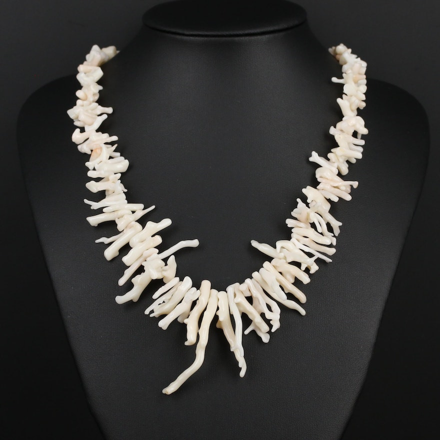 Beaded Coral with Sterling Silver Clasp