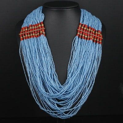 Beaded Goral and Blue Glass Multi-Strand Necklace