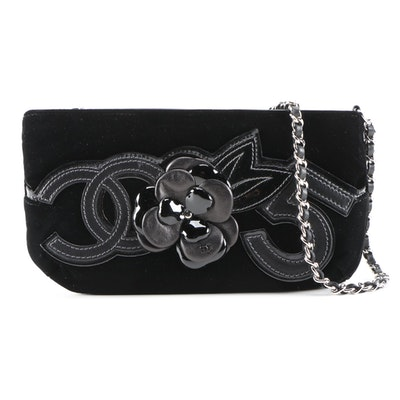 Chanel Camelia Appliqué No. 5 Black Velvet and Leather Shoulder Bag