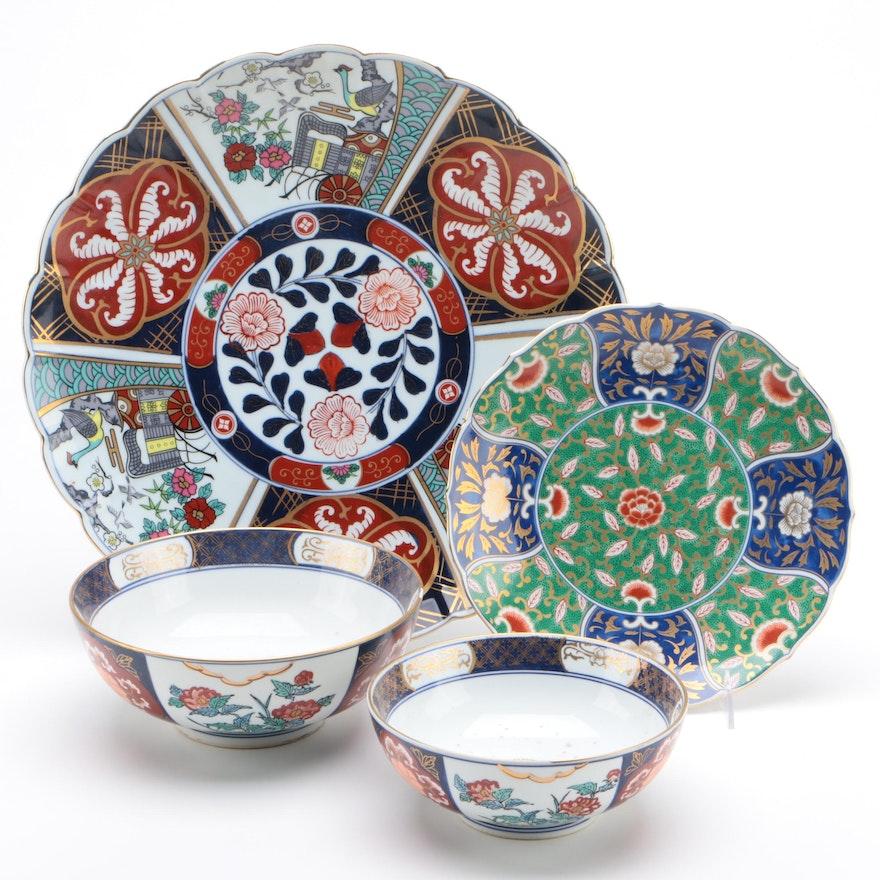 Gold Imari and Otagiri Mercantile Company Porcelain Decorative Plates and Bowls