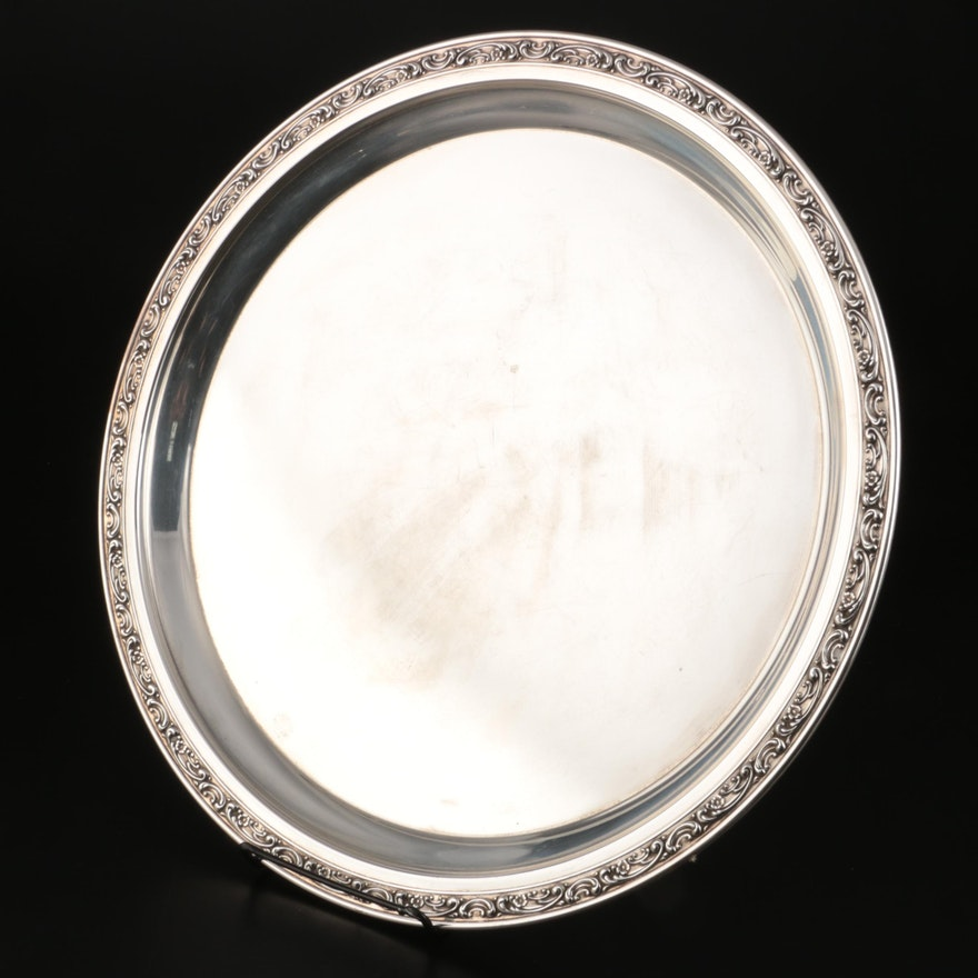 Gorham Sterling Silver Tray with Repoussé Rim, 1955