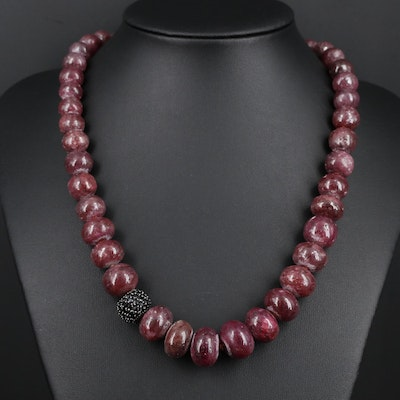 Sterling Silver Graduated Corundum and Black Onyx Necklace