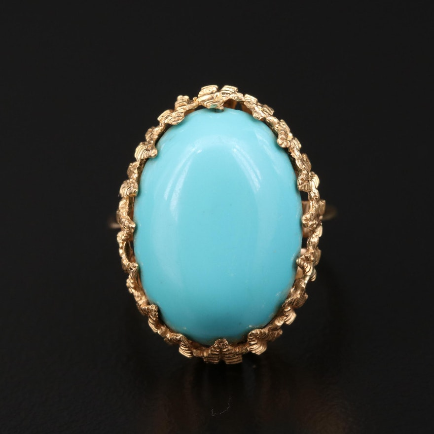 Vintage 18K Yellow Gold Imitation Turquoise Feather Motif Ring