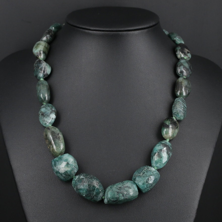 Hand Knotted Beryl Graduated Necklace with Sterling Clasp