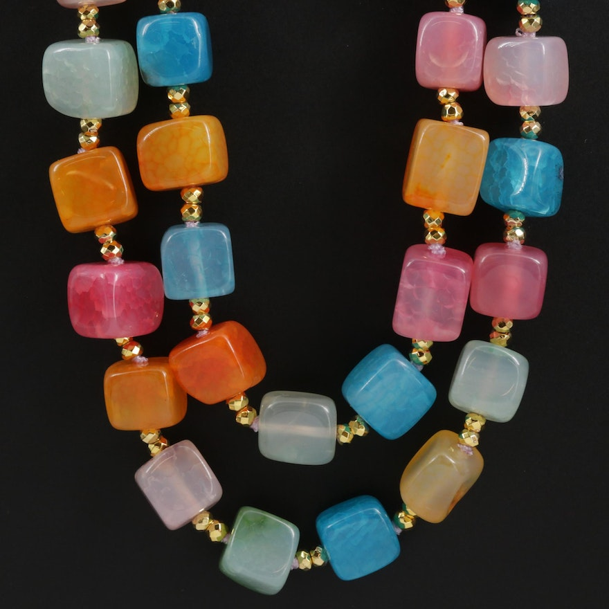 Sterling Silver Multi-Colored Chalcedony Necklace