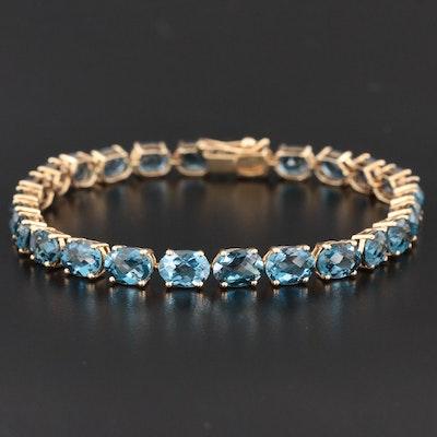 14K Gold Blue Topaz Bracelet