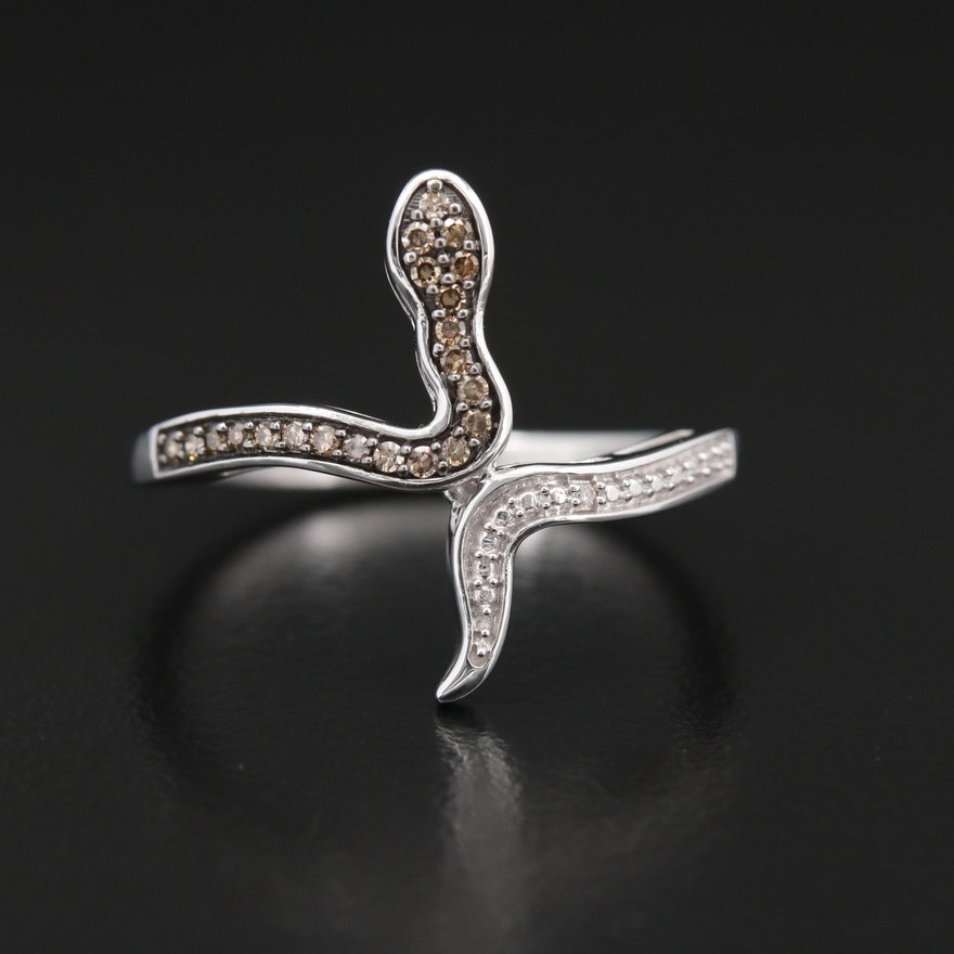 14K Gold Diamond Snake Ring