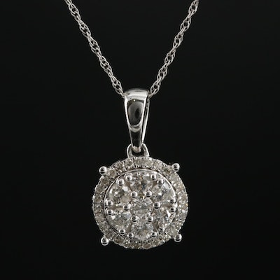 10K White Gold Diamond Pendant on Singapore Link Necklace