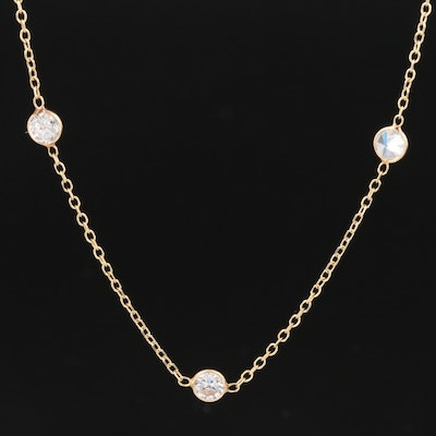14K Yellow Gold Cubic Zirconia Station Necklace