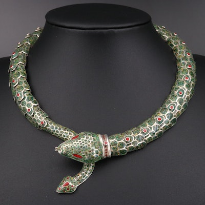 Mexican Sterling Silver Snake Motif Necklace
