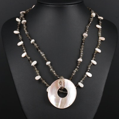 Sterling Silver Shell and Quartz Beaded Necklace
