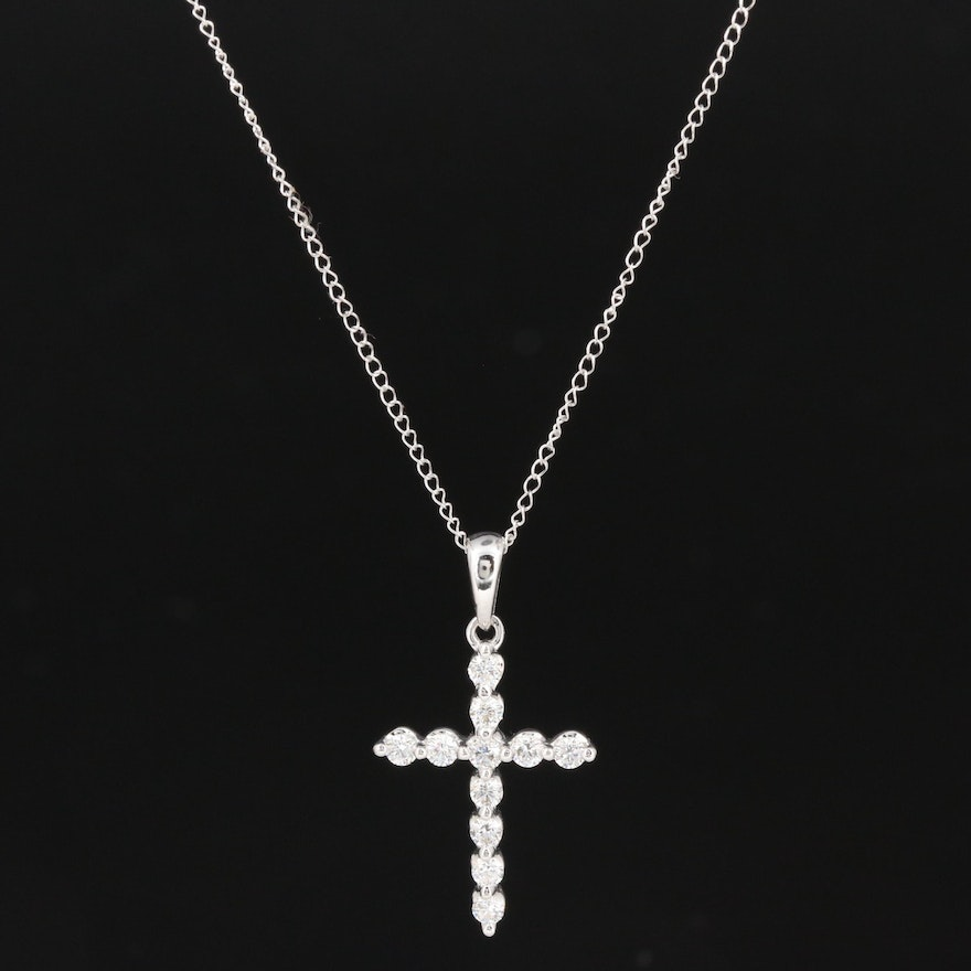 18K and 14K Gold Diamond Cross Pendant Necklace