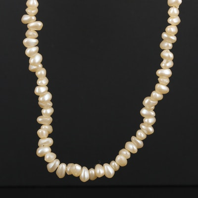 Sterling Silver Imitation Pearl Necklace