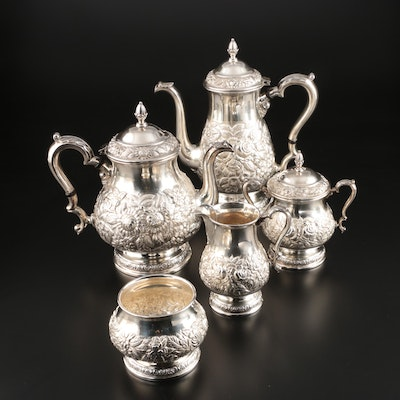 American Repoussé Sterling Silver Five-Piece Tea and Coffee Service