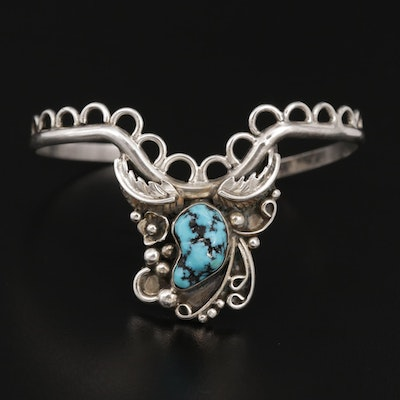 Southwestern Style Sterling Silver Turquoise Tiara Bracelet