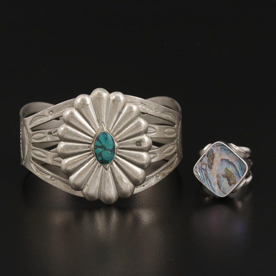 Sterling Silver Abalone Ring with Imitation Turquoise Cuff