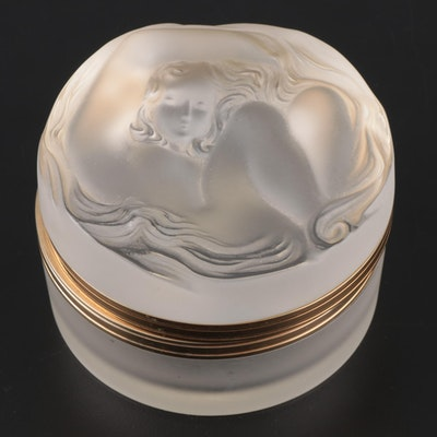 "Lalique ""Daphné"" Frosted Crystal Vanity Box with Hinged Lid"