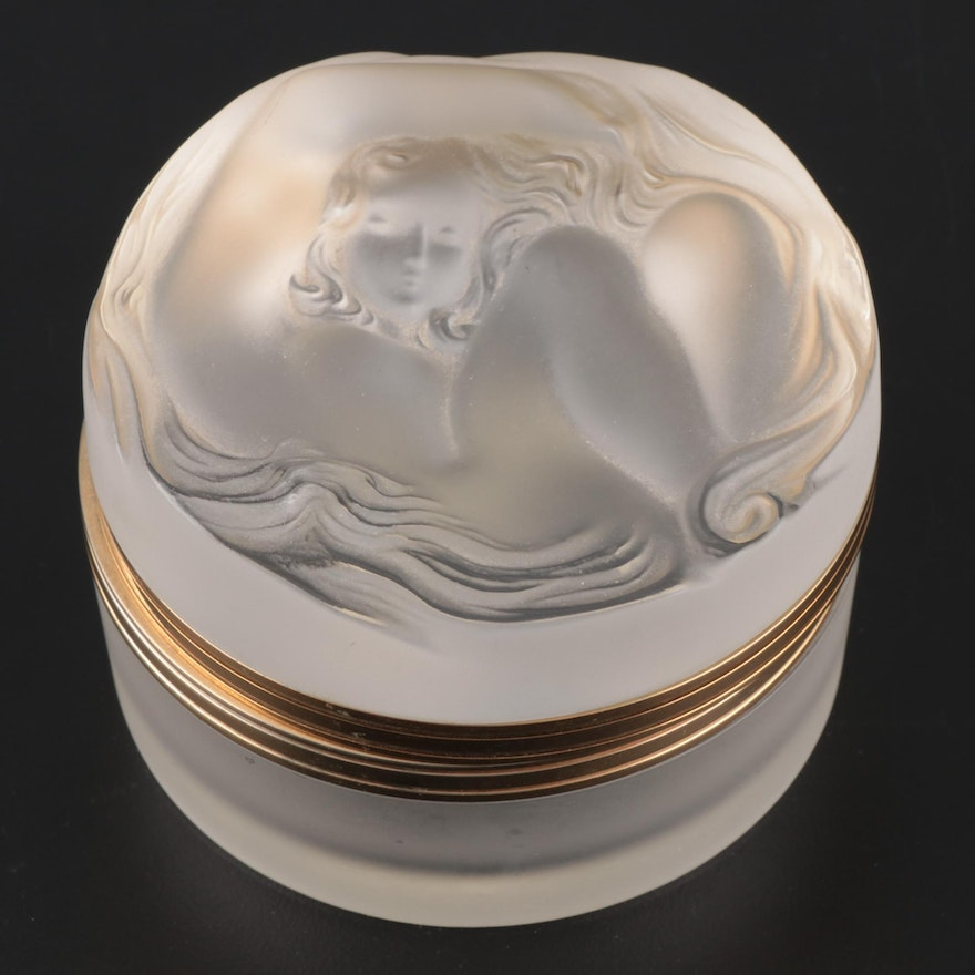 """Lalique """"Daphné"""" Frosted Crystal Vanity Box with Hinged Lid"""
